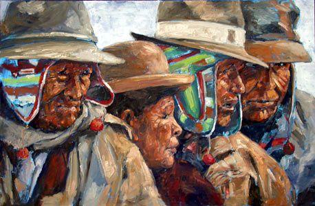 Peinture souvent utilisée pour représenter les Aymara : quatre personnes, portraits, des hommes et femmes âgés, chapeaux beige, couvrent oreilles multicolores, peau foncé.